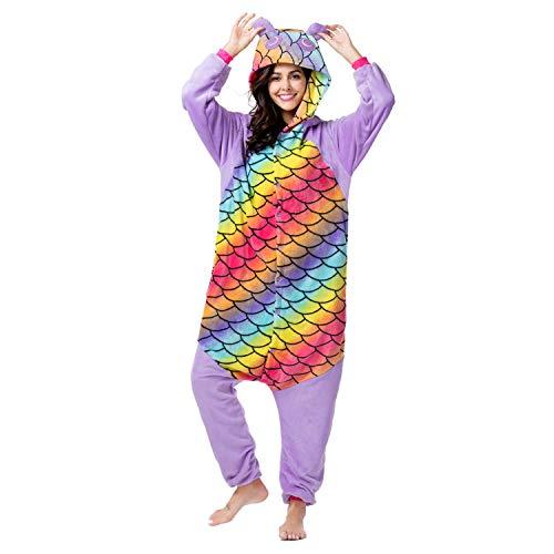 RONGTAI Adults Unisex Animal Kigurumi Flannel Panda Onesie Pajamas Cosplay Costume(L(5'7