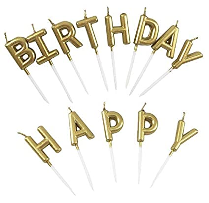 Image Unavailable Not Available For Color Eshanmu Birthday Letter Cake Candles Gold
