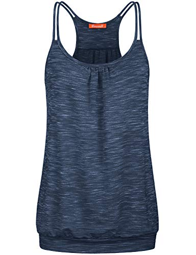 (Blevonh Cute Sleeveless Shirts for Women, Juniors Round Neck Stretch Loose Fitting Tank Tops with Band Casual Camisole for Yoga Shorts Trainning Shirts Royal Blue M)