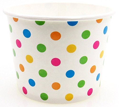 8 oz Paper Hot/Cold Ice Cream Cups - 100ct (Polka Dot)
