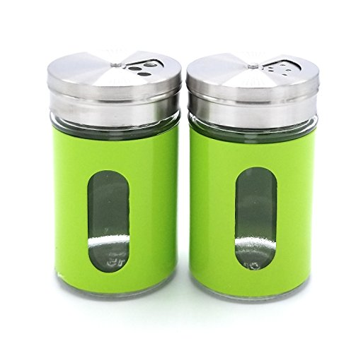 JVLM Home Premium Glass Salt and Pepper Shakers Dispensers Set with Stainless Steel lids (Green) ()