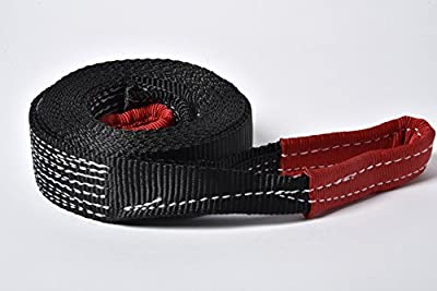 "Premium Winch Recovery Tow Strap By Alfa Wheels - 2"" x 20' Off-Road Car Truck Snatch Strap - Heavy Duty UV Resistant Polyester - Reinforced Loop Ends - 9000lb Capacity Black and Red"