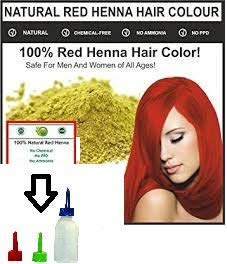 Red Henna Hair Color – 100% Organic and Chemical Free Henna for Hair Color Hair Care with free Applicator Bottle js (100grm)