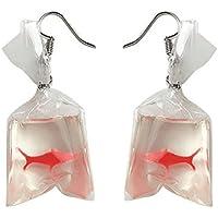 Genuiskids Women Funny Goldfish Water Bag Shape Dangle Hook Earrings Female Charm Jewelry