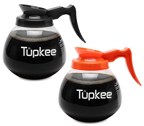 Tupkee Glass Replacement Coffee Pot - SHATTER-RESISTANT Commercial Restaurant Decanter Carafe - 64 oz 12 Cup Set of 2-1 Black and 1 Orange Decaf, Compatible with Wilbur Curtis, Bloomfield, Bunn ()