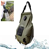 SmartHS Solar Camping Shower Bag, 5 Gallon Portable Outdoor Shower Bag with Switchable Shower Head, Thermometer, Storage Bag
