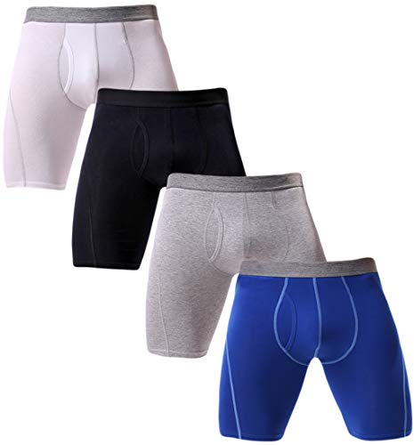 Rusaevon Mens 4-Pack Premium Cotton Boxer Brief Stretch Waist Breathable Pouch with Fly