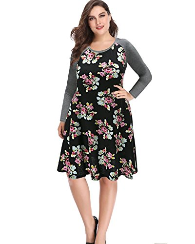 Pinup Fashion Women's Floral Long Sleeve Plus Size T-Shirt Casual Dress Black 22W from Pinup Fashion