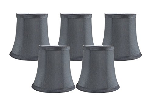 Silk Chandelier (Meriville Set of 5 Gray Faux Silk Clip On Chandelier Lamp Shades, 3.5-inch by 5-inch by 4.75-inch)