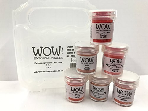 Set Sherbert (WOW! Embossing Powder and Glitter Desert Orange Sunset Colors 6-Pack Kit and Clear Carrying Case - Bundle 7 Items)