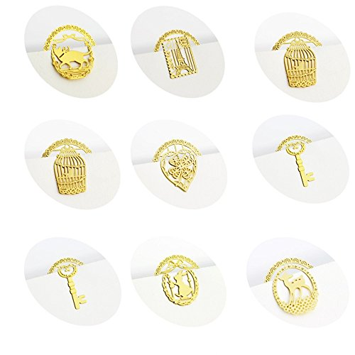 - Laz-Tipa - New Delicate Mini Cute Round Hollow Out Gold Metal bookmark creative Lace Cartoon bookmarks for books 324