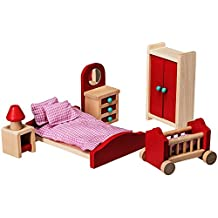 Dollhouse Furniture - Dollhouse Accessories - Wooden Dollhouse Furniture Set by Dragon Drew (Bedroom Set)