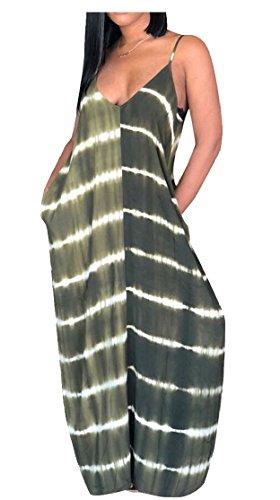 Boho Women's Stripes Sleeveless Green Jaycargogo Long Dress Maxi Beach Print Blackish 5H7nqwqx