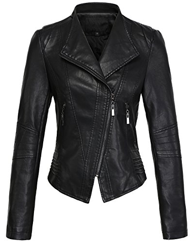 (chouyatou Women's Casual Collarless Cropped Pu Leather Biker Jacket (Large, Black))