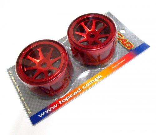 TopCad #23031R Aluminum 8-spoke Bead Lock Wheel (2) W/Aluminum Wheel Hubs Red for Axial Wraith