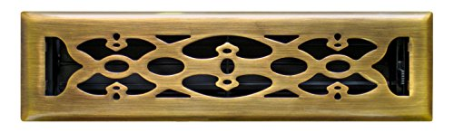 - Accord AMFRABV212 Floor Register with Victorian Design, Fits 2-Inch x 12-Inch(Duct Opening Measurements), Antique Brass