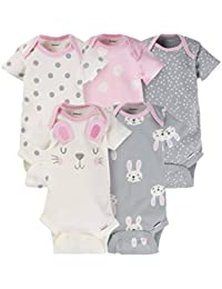 Baby Girls' 5 Pack Variety Bodysuits