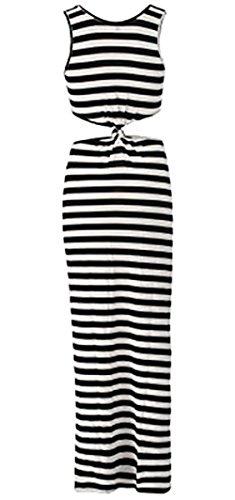 Robe Longue D'été à Rayures et Ajourée - Noir/Blanc.