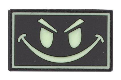 Smiley Face Glow In The Dark PVC Matrix Velcro Morale Patch (Black) - Smiley Black Cap