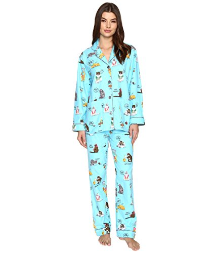 PJ Salvage Women's Fantastic Flannels, Hanukkah Cats, M (Blue Cat Pajamas)