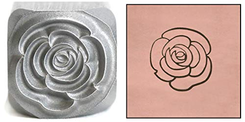 Open Rose Metal Stamp, 8mm Large Garden Flower Punch Stamping Tool for Hand Stamped DIY Jewelry Crafts - Beaducation Original Metal Design Stamps