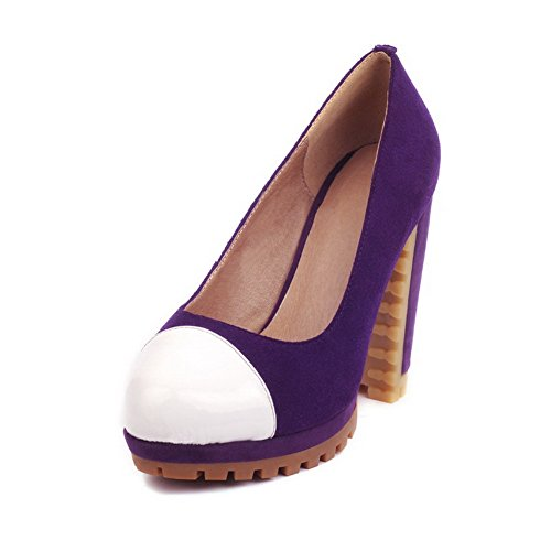 VogueZone009 Womens Closed Toe Round Toe High Heels PU Frosted Assorted Colors Pumps, Purple, 5 UK