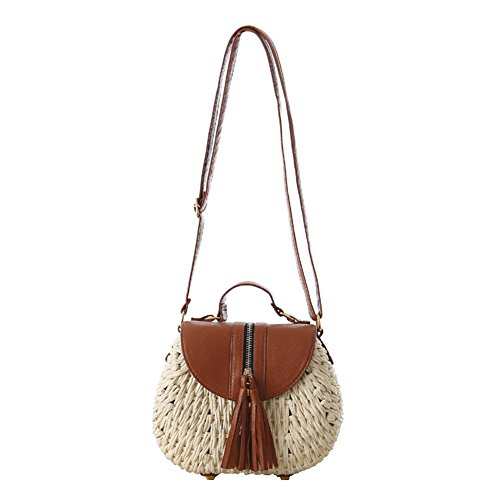 Rattan Cross Decoration Body Woven Shoulder Straw Zipper Beach Small FAIRYSAN Summer Tassel Bag Handbag Shopping Women Beige 4qwYIZxnUX