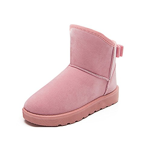 Women Snow Boots Winter Warming Round Toe Boots Solid Bowtie Slip-On Bow Flats Shoes Plush Ladies Ankle Boots 815 Pink 5.5 Charles Street Tall Boots