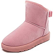 Women Snow Boots Winter Warming Round Toe Boots Solid Bowtie Slip-On Bow Flats Shoes Plush Ladies Ankle Boots 815