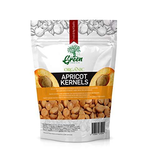Dried Bitter Apricot Kernels| 16 oz| Raw, Vegan, Gluten Free, Non-GMO & Organic Certified Apricot Kernel Seeds| Rich in B17 (Amygdalin)& B15 Vitamin| Pesticide & Herbicide-Free| By Green Tonics