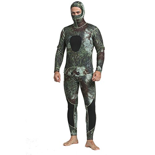 (MYLEDI Camo Wetsuit 3mm Neoprene Super Stretch Free Diving and Spearfishing Wetsuit Including Long John and Jacket (MY053, XL))