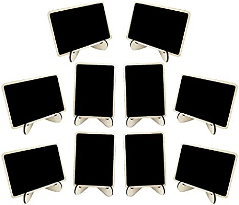Gosear 10 Piezas Mini Pizarras de Madera pizarras menú tableros decoración de Escritorio con Caballete Soportes para Fiesta de Boda decoración de casa Diaria: Amazon.es: Hogar