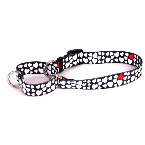 White Hearts Martingale Control Dog Collar - Size Medium 20