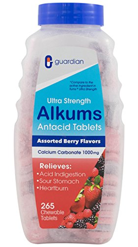 Guardian Ultra Strength Assorted Berries Antacid Supplement, 265 Chewable Tablets