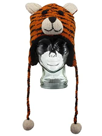 93c87e0fd13 LOUDelephant wool knit tiger animal ear flap hat with fleece lining   Child   Amazon.co.uk  Clothing