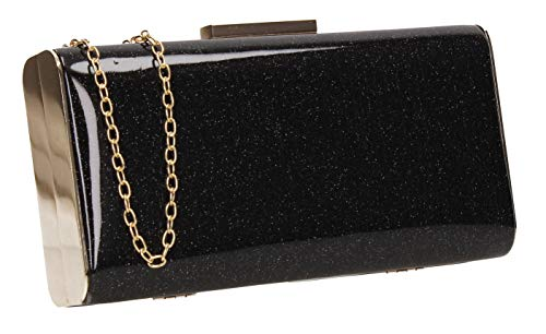 Melissa Clutch Black Womens Sparkle Box Bag SWANKYSWANS Party Prom x4ROWFw