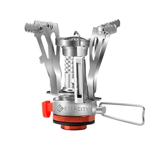 (Etekcity Ultralight Portable Outdoor Backpacking Camping Stove with Piezo Ignition (Orange, 1 Pack))