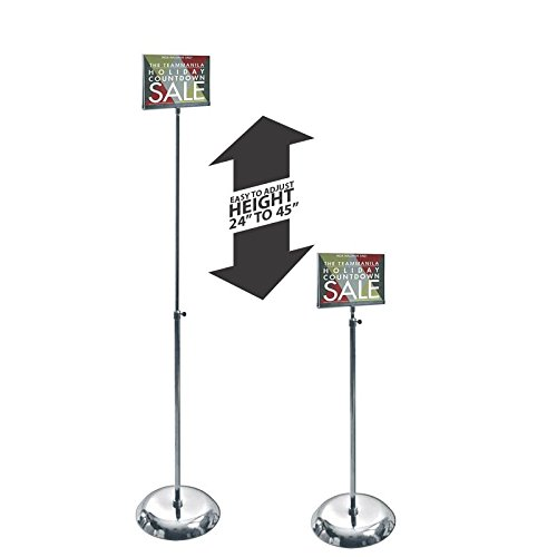 Clear Acrylic Pedestal Sign Holder Stand w/ Adjustable Metal Pole 7''W x 5.5''H by Sign Holder