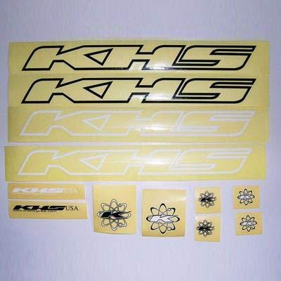 KHS Bicycles Frame Decal Set, Black/White