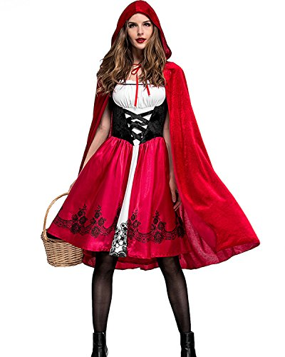 Aifang Happy Halloween Women's 2 Piece Gothic Red Riding Hood Adult Costume Cosplay M
