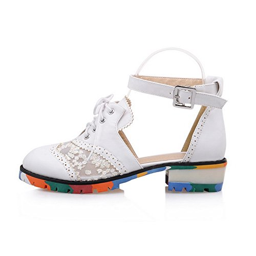 1TO9 Ladies Metal Buckles Round-Toe Polyurethane Sandals White K7wT5Buz