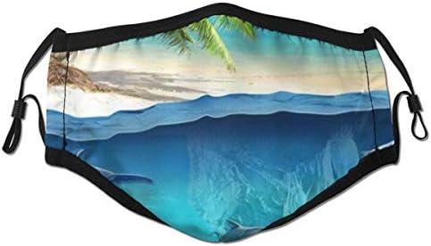 VORMOR Sea Dolphin Fish 3D Unterwasserwelt Tropical Beach Palm Tree Staubwaschbarer wiederverwendbarer Filter und wiederverwendbarer Mund Warmes winddichtes Baumwollgesicht