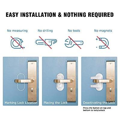 Door Lever Lock Child/Pets Proof Kids Proofing Door Handle Lock 3M Adhesive-Toddler Safety Locks