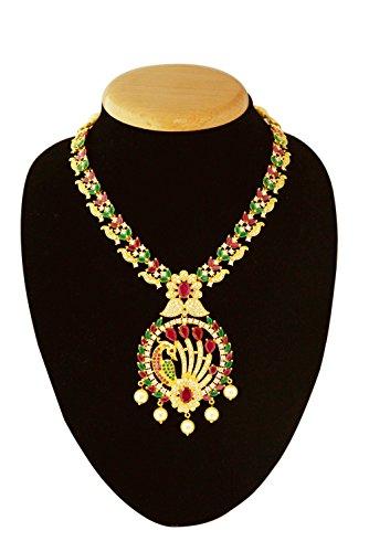 Femme collier de bijoux indien ethnique-Paon Design clouté avec pierres Blanc, Rouge et Vert