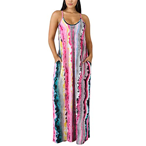 WOOSEN Womens Summer Suspender Maxi Dress Plus Size Striped Printed Sleevess with Pockets and Belt Pink