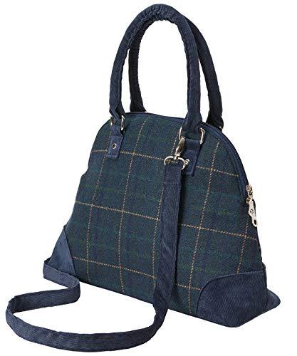 Joe Browns Womens Tweed Check Fair Trade Handbag Blue (Navy Multi)