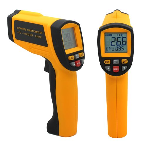 LCD Digital 50:1IR Infrared Non-Contact Thermometer Temperature 1650°C 3002°F Professional Industrial 0.1~1.00 adjustable Pyrometer 0.1~1EM