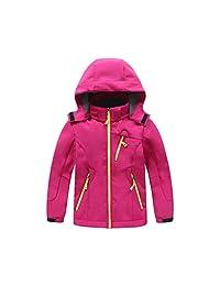 Zhhmeiruian Fleece Lined Boys Girls Ski Snow Windbreaker Hooded Jacket Softshell