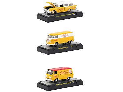 M2 Machines Coca-Cola Yellow Set of 3 Cars Limited Edition to 4,800 Pieces Worldwide Hobby Exclusive 1/64 Diecast Models 52500-YR01 ()