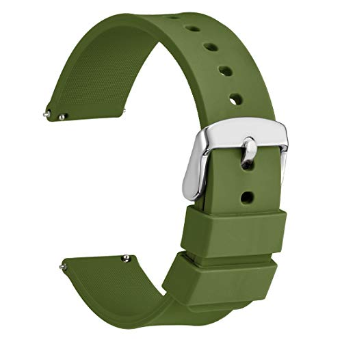WOCCI Silicone Watch Band 20mm,Soft Rubber Replacement Straps with Quick Release (Army Green) (Usa Army Watch)